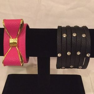 Charming Charlie Jewelry - Lot 2 Charming Charlie Cuffs Pink and Black